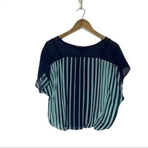 BCX Striped Mint and Navy Short Sleeve Blouse